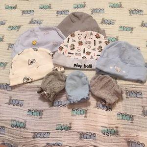 Other - 5 Newborn Beanie Hats, 3 Mittens
